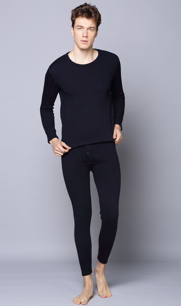2014 Super soft Combed Cotton Add wool thermal underwear men's winter warm Long Johns /wylie coat