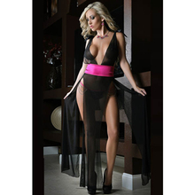 Ultra A Deep V Neckline High Side Slits Sheer Black and Pink Sexy Gown Ladies Sleeping Gown Sexy Mature Sleepwear L51135-1