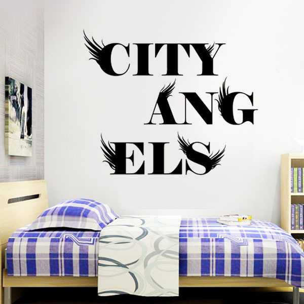 City Angel Wall stickers Kids rooms decoration wallpaper Say Quote Word Lettering Art Vinyl Sticker Decal Home Decor Words - Stickers Talk store