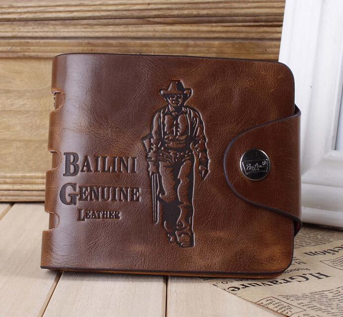 Male Genuine Leather Wallet Brief Short Men Wallets Grid Purses Coin Bag Money Clip Clutch - Fashion Lady store