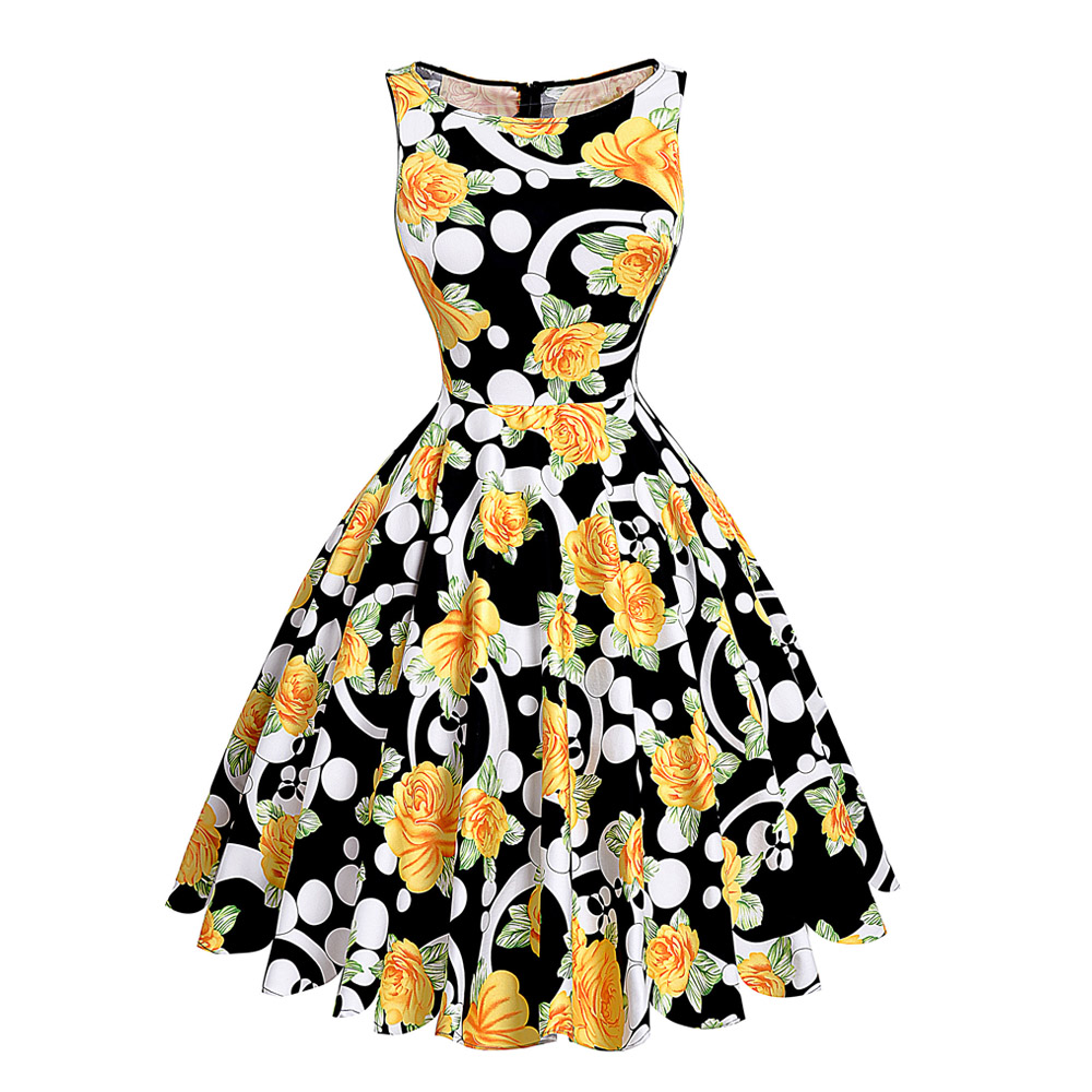 print floral 50s 60s vintage dresses hepburn