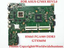 Original laptop motherboard for ASUS G74SX REV2.0 Mainboard HM65 PGA989 DDR3 2D Screen GTX560M 2G 4Pcs Memory slot Fully tested(China (Mainland))