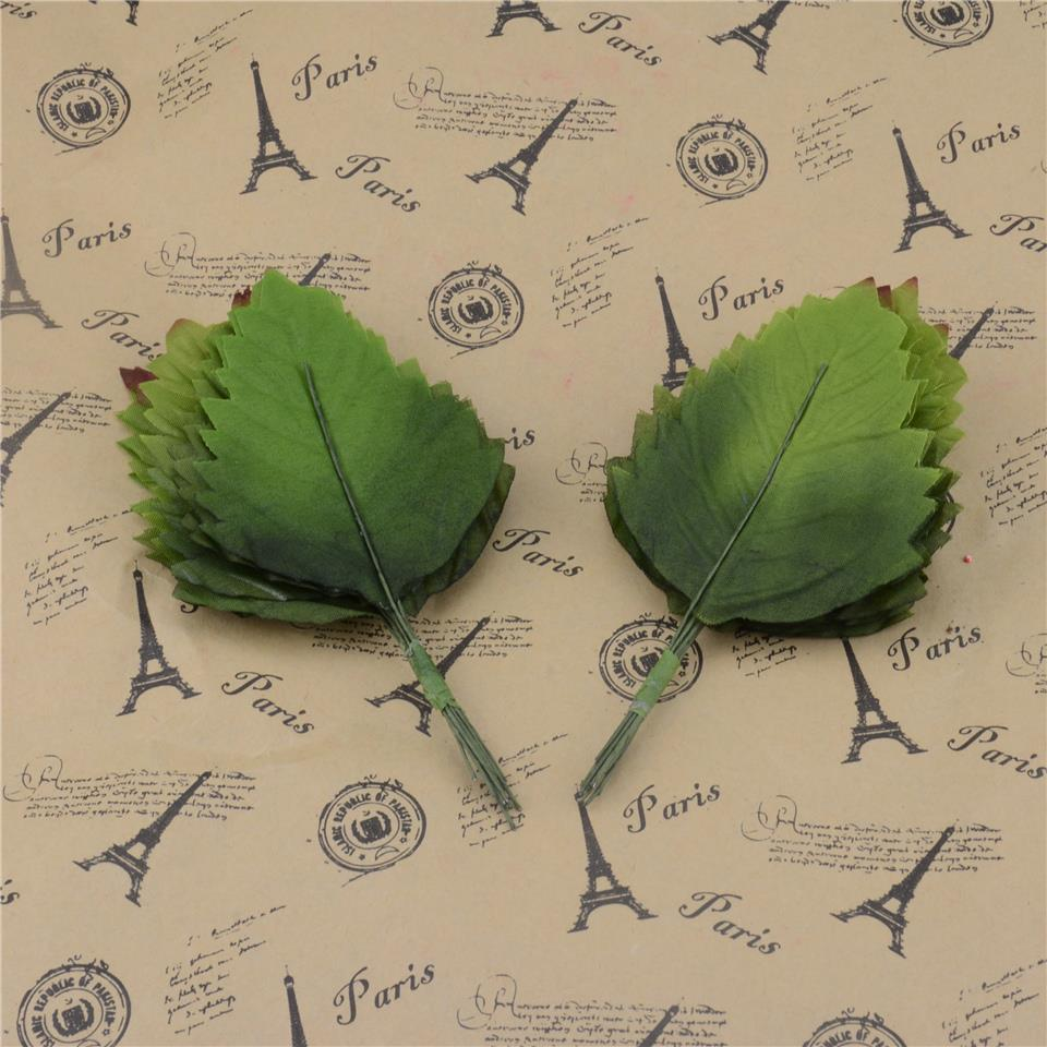 2016 24pcs Green Artificial Leaf Bouquet For Wedding Home Decoration DIY Garland Rose Leave Decorative Floristry Craft Flowers(China (Mainland))