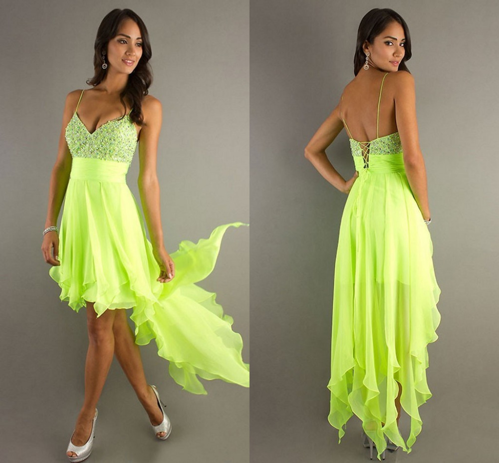Hotu0026Sexy High Low Green Chiffon Beaded Short Evening Dress Crystal Elegant Cheap Formal Party ...
