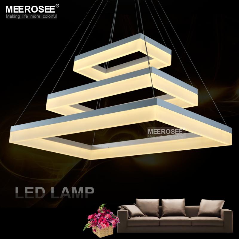 modern led pendant lights acrylic 3 rectangles led. Black Bedroom Furniture Sets. Home Design Ideas