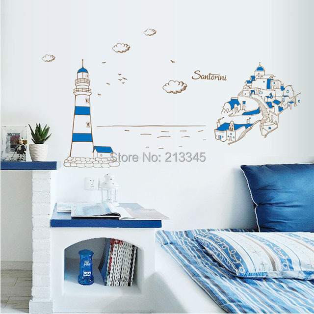 Mediterranean Sea Wall Sticker Decals Home Blue Romantic Bedroom Decor