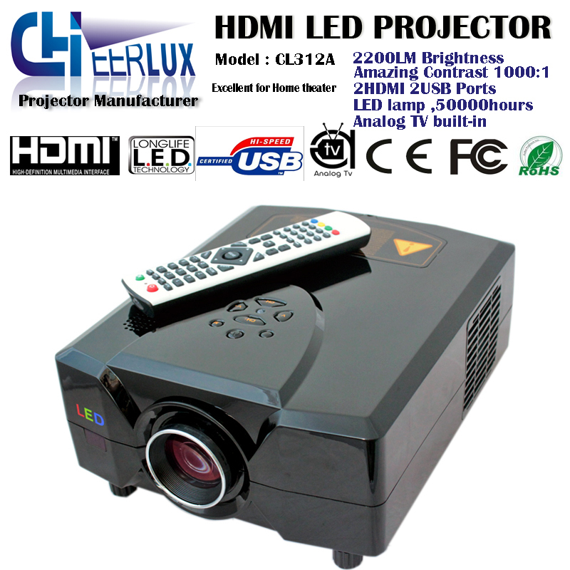 lcd projector high quality with tv built in&double usb and hdmi ports connected to pc/iphone(China (Mainland))