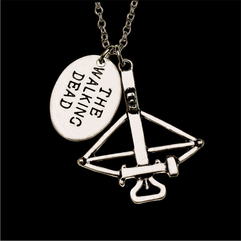2015 New Design Movie Jewelry The Walking Dead Necklace Crossbow Pendant Neckalce FEAR THE LIVING Pendant