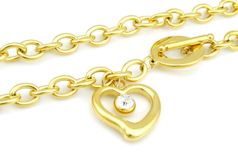 Женская мода Браслет Ожерелье Наборы Из Нержавеющей Стали Золото Полый Хрустальное Сердце 2016 Новое Прибытие AJS155