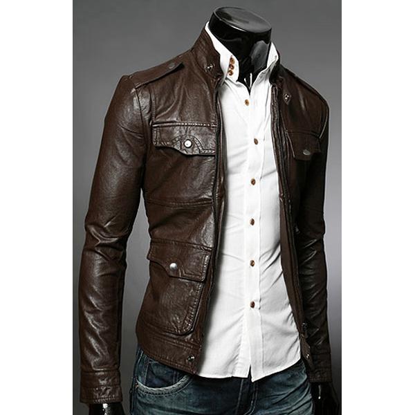 Mens Slim Leather Jacket - Jacket