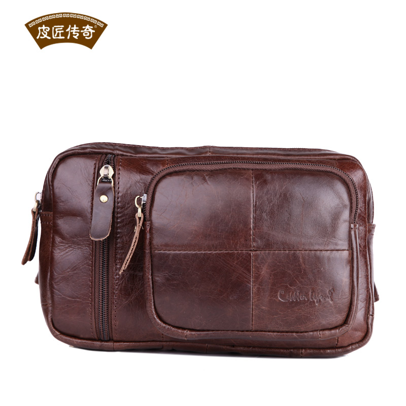 Real Cowhide Top Quality Leather Waist Bag Pack for Male Gender 7040244<br><br>Aliexpress