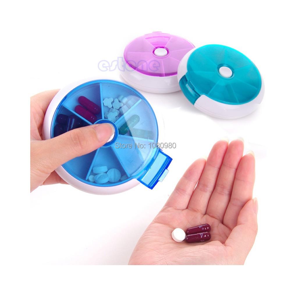 1pc Portable Travel 7 Slot Storage Pill Vitamin Medicine Box Case Holder Dispenser(China (Mainland))
