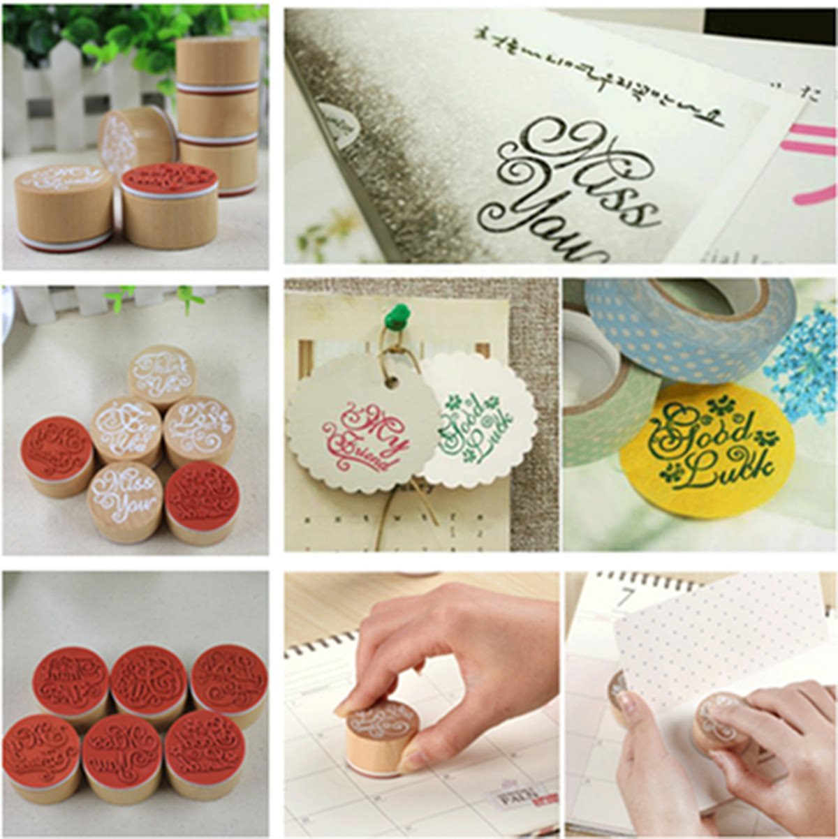 How to scrapbook words -  New Arrival Wooden Round Handwriting Wishes Sentiment Words Floral Pattern Rubber Stamp Scrapbook For Decoration School