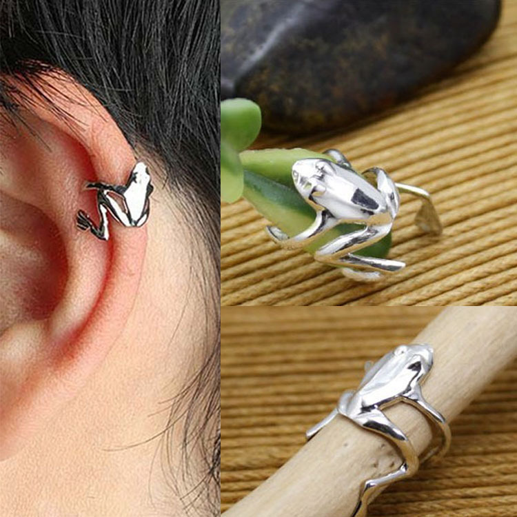 Chic Fashion 1PCS Punk Gold Silver Tone Frog Cuff Ear Clip Wrap Earring Jewelry 2 Colors(China (Mainland))