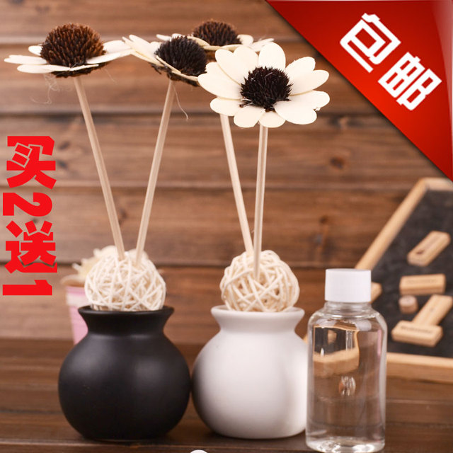 Black and white bottle set rattails dried flowers essential oil set gift box indoor incense perfume