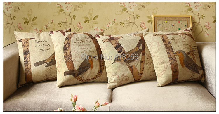 Free shipping 45*45cmThe new letters LOVE thick hemp linen pillow pillow fashion lovers letters sofa cushions(China (Mainland))