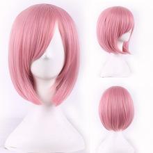 fashion women hair daily wear wigs cheap heat resistant synthetic wig short pink bobo wig cosplay short straight wigs bob bangs(China (Mainland))
