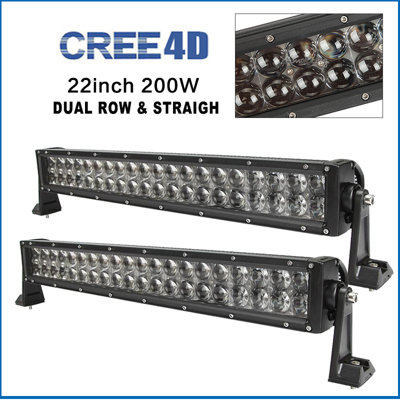 2pcs 22inch 200W straight Led Light Bar cree 4D offroad combo beam bar light Trailer Truck 4x4 4WD SUV ATV 12V 24V driving light(China (Mainland))