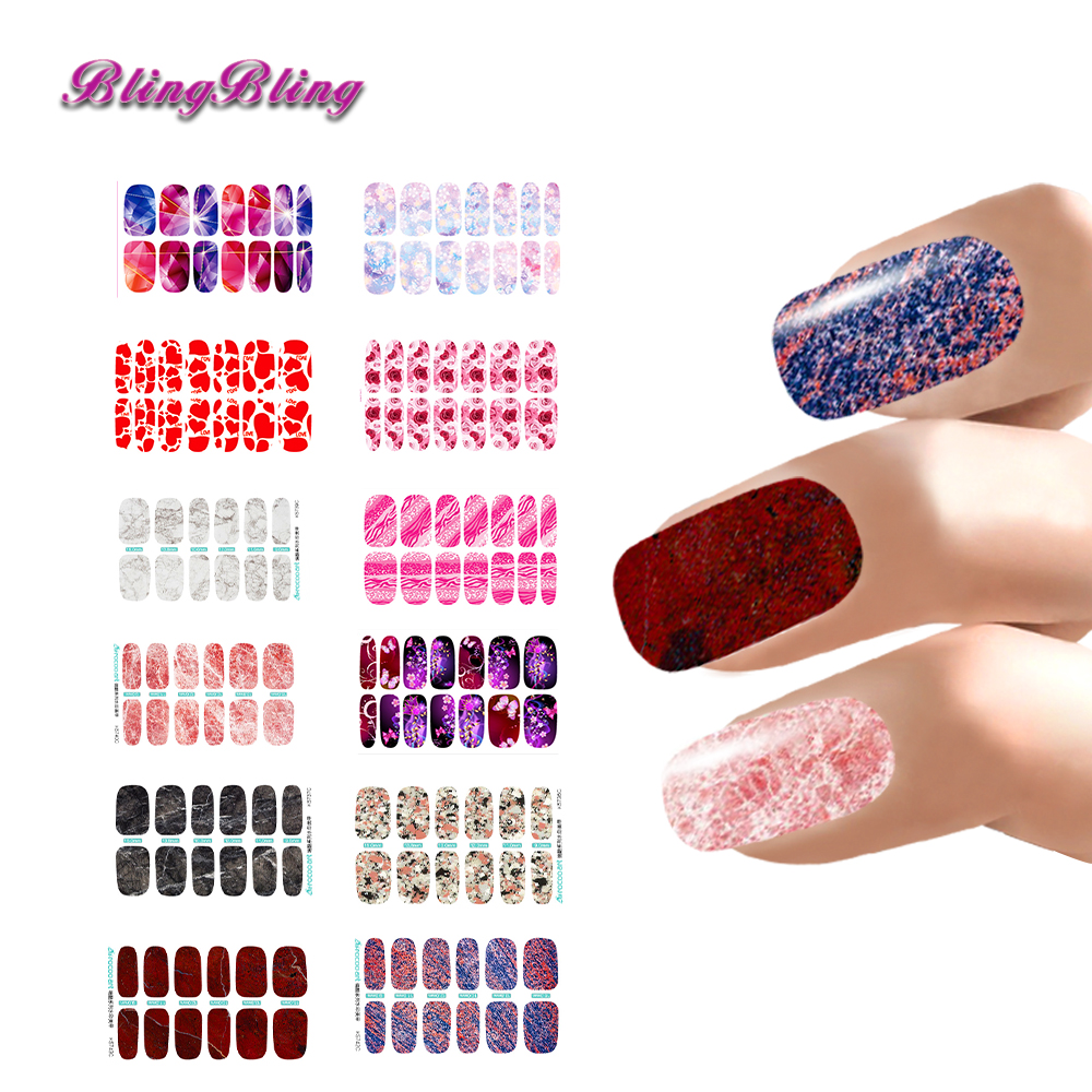 12pcs Nail Art Lot Flower stickers For Nails Decals Marble Nail Wraps Manicure Waterslide Decal Accessories(China (Mainland))