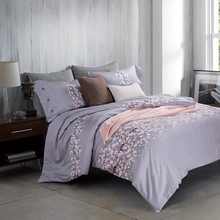 Gray Floral Queen/King Size Bedding Sets Egyptian Cotton Bedlinens Customized Flowers Duvet Cover+Flat Sheet+Pillow Cases(China (Mainland))