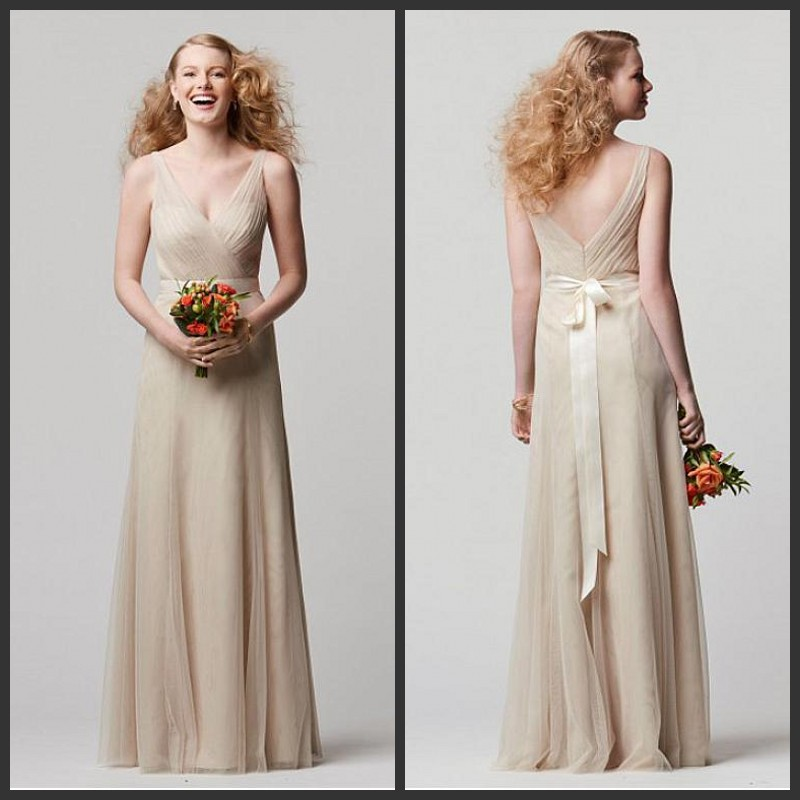 2015 Sexy Nude Long Dresses For Wedding Guests Tulle