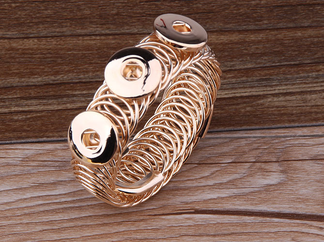 Free ePacket Ship Newest Gold Ginger Snap Button Bangle&Bracelets Metal Alloy Bracelet Fit 18mm Jewelry - Global online supermarket store