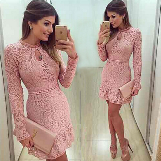 New Arrive Vestidos Women Fashion Casual Lace Dress 2016 O-Neck Sleeve Pink Evening Party Dresses Ve