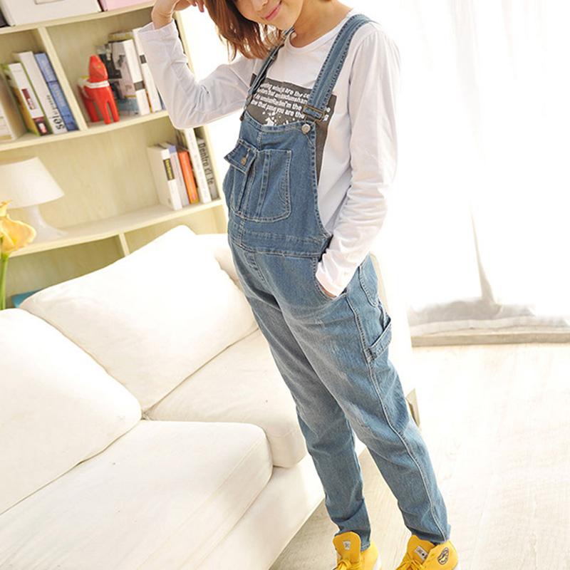Korean Style Pregnant Jeans Pants Loose Casual Denim Pants Adjustable Ladies Trousers Maternity Prop Belly Pants Asian Size M-XL