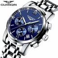 GUANQIN Luxury Quartz Watch Male Simple Sapphire Mens Fashion Watch Waterproof Steel Wristwatch Automatic Watch Men