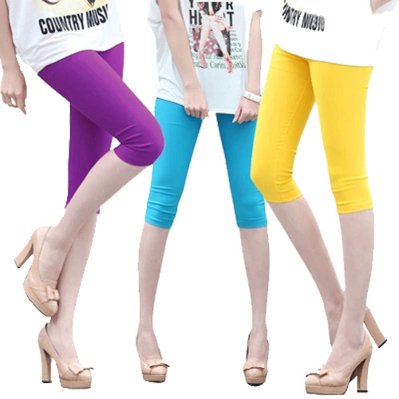 2015 summer Slim Comfortable Ice Viscose smooth cool Pants women Skinny Capris Legging Candy 14 Color(China (Mainland))
