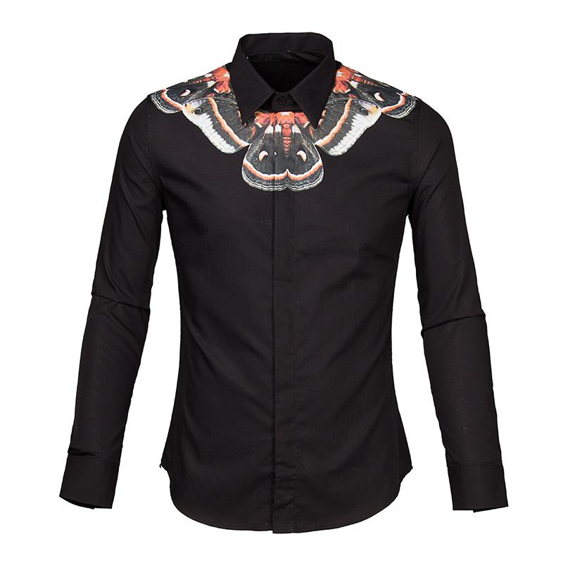 2015 HOT Chile Butterfly Print catwalk models Men's fashion shirt long sleeve shirt(China (Mainland))