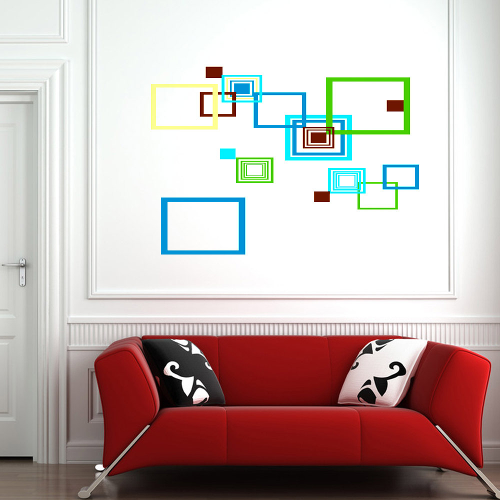 Square circle simple diy wall wallpaper stickers art decor for Diy wall photo mural