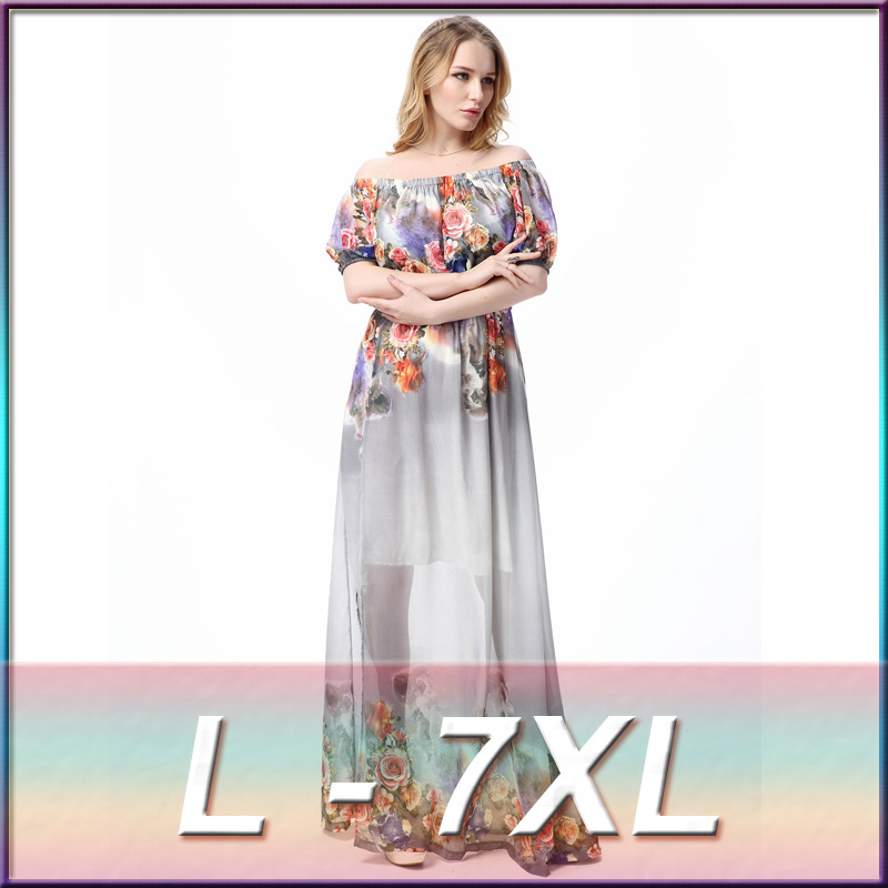 Brand New Spring Short Lantern Sleeve Women Dress Fashion Printed Slash Neck Maxi Bohemian Beach Dresses Loose Dress DM028
