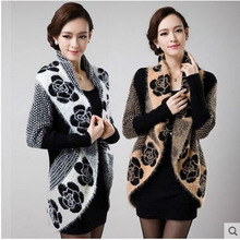 Women'S Casual Korean Large Size Long Cardigan Sweater Coat Cloak Long Sleeves Patchwork Autumn Knit Shawl Sweater Outwear J421