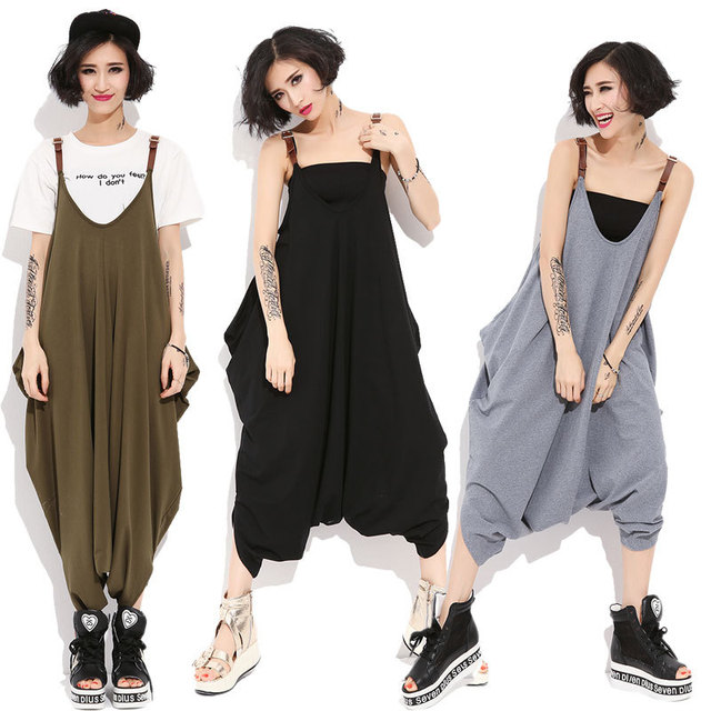 Новая Мода 2016 Женщины Комбинезоны Комбинезоны Широкую Ногу Шаровары хип-хоп