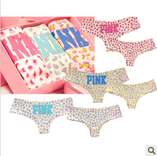 Pink women's low-waist panties seamless panties sexy 100% cotton panties letter trigonometric leopard print panties