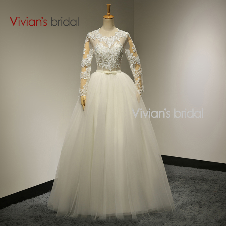 Buy vivian 39 s bridal sexy ball gown long for Long sleeve lace wedding dresses for sale