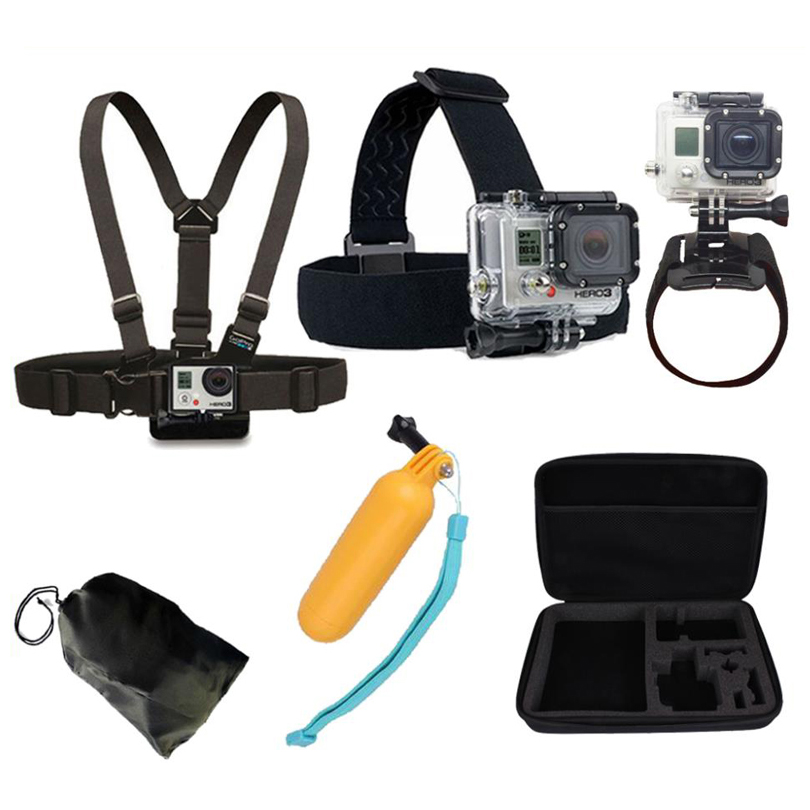 GoPro Accessories Head Belt Chest Strap Wrist Belt Floating Hand Grip Mount Containing Box for Go Pro 4/3+/3 SJCAM SJ4000 sj5000(China (Mainland))