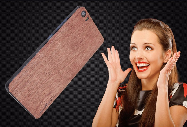 Genuine Wood material smart phone back sticker cover case for xiaomi mi5 case m5 original accessory