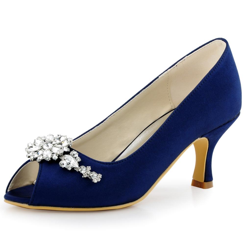 navy blue peep toe evening prom mid heels