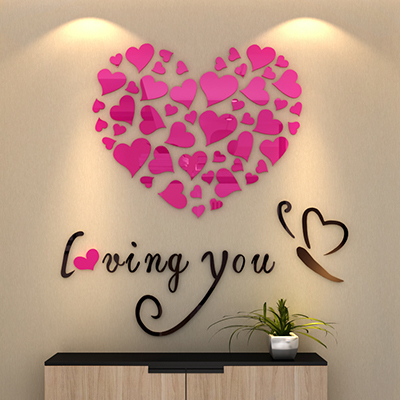 Romantic stereoscopic 3D acrylic paintings bedroom living room wall stickers bedside background wall door wedding decoration(China (Mainland))