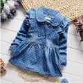 2016 spring new Korean children girls lovely polka dots denim jacket female baby cotton jean lapel
