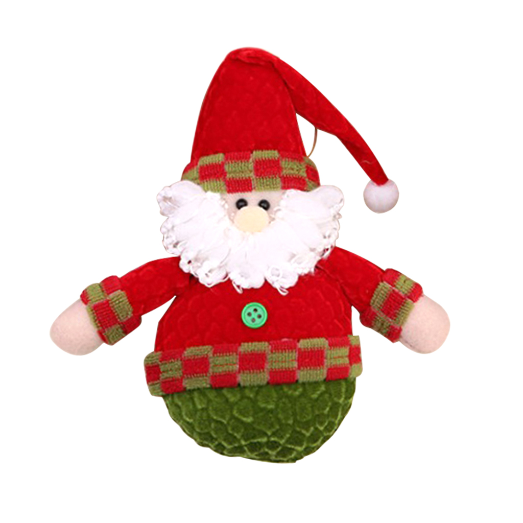 1 Piece Chic Christmas Santa Snowman Elk Plush Doll Christmas Tree Hanging Decoration