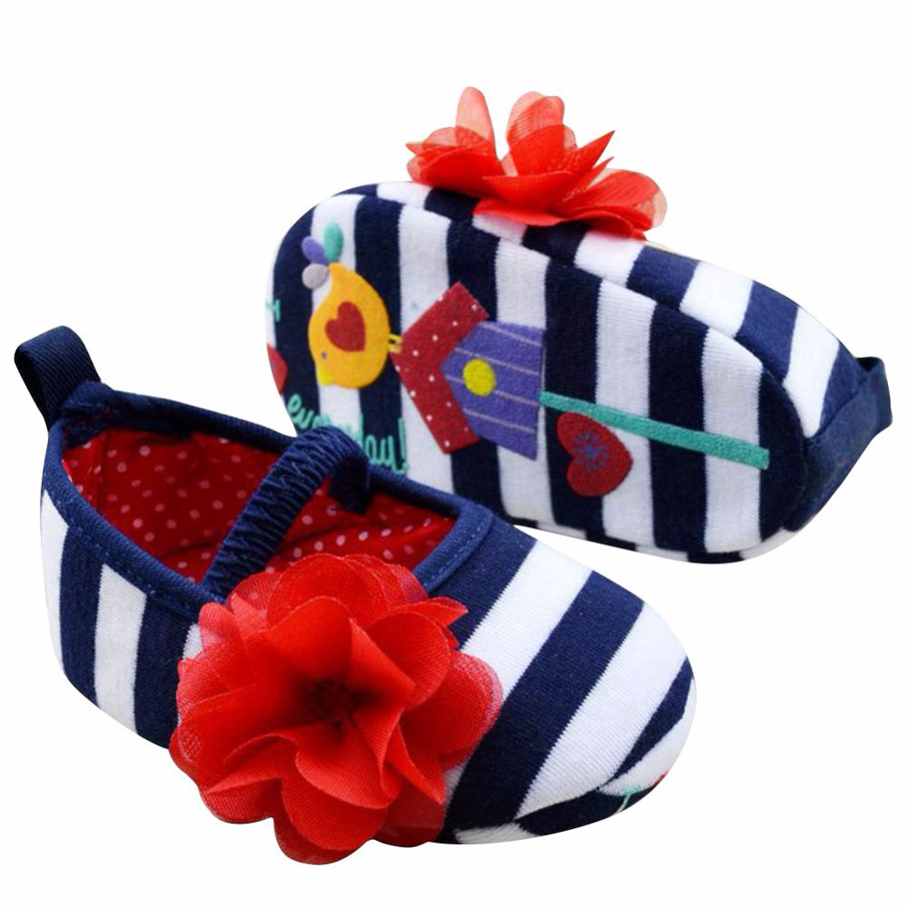 Infant Toddler Stripe First Walkers Flower Crib Shoes Soft Sole Kid Girls Baby Shoes Prewalker SSY
