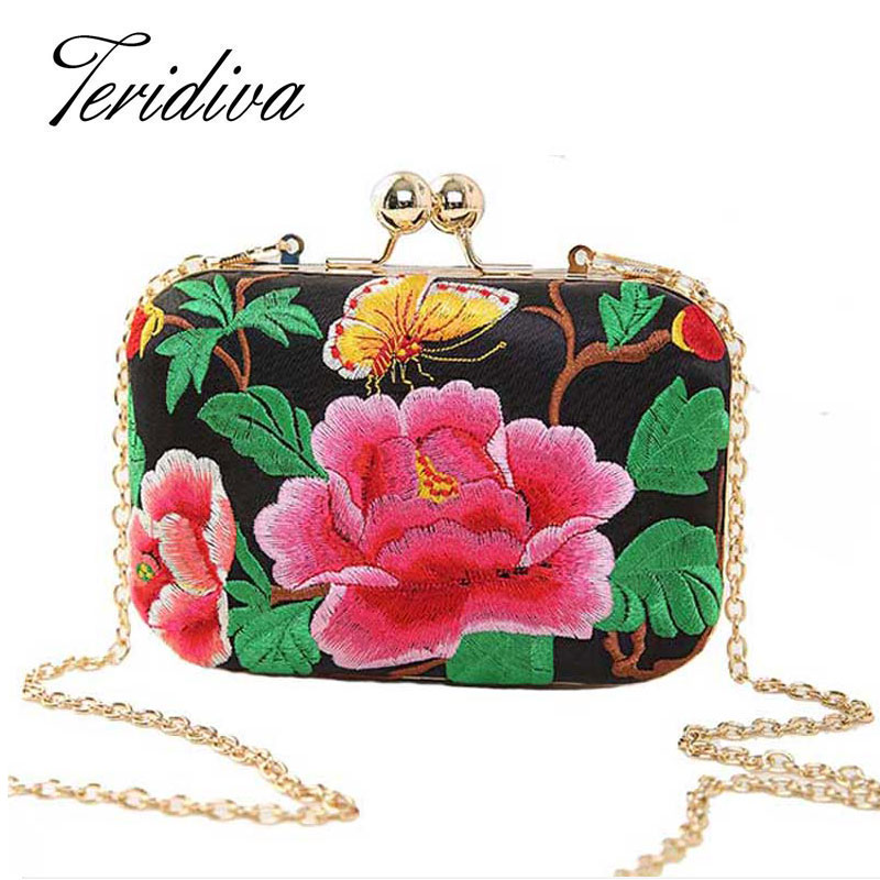 European and American Style Floral Handbag Chain Shoulder Bag Embroidery Ethnic Bags Spain Style Women Evening Clutch Bags(China (Mainland))