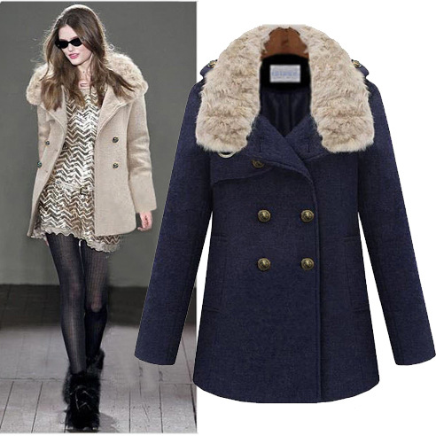 Fashion winter 2013 new brand women's long woolen double breasted slim thickening jacket coat fur outerwear trench overcoat - Beauty Co. Ltd store