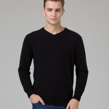 Sweater Man 100% Pure Cashmere Knitted  Winter Warm Pullovers V-neck Long Sleeve Standard Sweaters Male Jumper 8Color Puls Size(China (Mainland))
