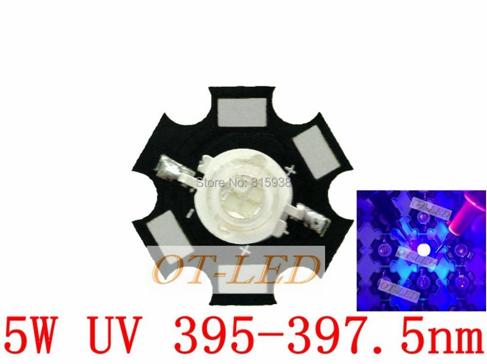 Freeshipping! 5pcs 5W UV/Ultra Violet High Power LED 395-397.5NM with 20mm Star Platine Heatsink for Fishing/Plant Grow Light(China (Mainland))