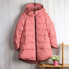 2015 New Arrival Women Coat Long Sleeve Polka Dot Wide waisted Thick Down Parkas Plus size