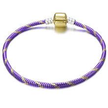 באיכות גבוהה 17-21cm כסף נחש שרשרת קישור צמיד Fit אירופאי קסם מותג צמיד לנשים DIY תכשיטים ביצוע(China)